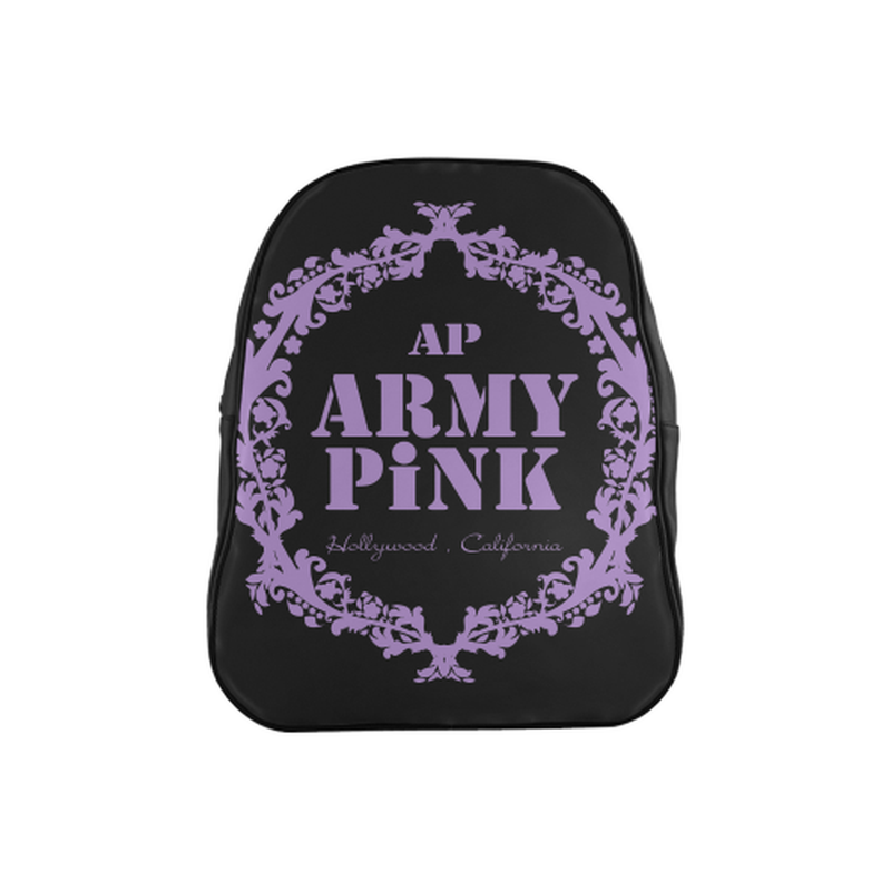 Purple wreath on black School Backpack (Model 1601)(Medium) for  at ARMY PINK
