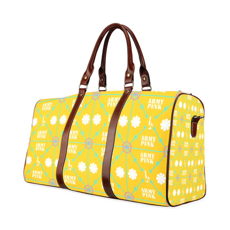 large travel bag diamond aop on yellow Waterproof Travel Bag/Large (Model 1639) for  at ARMY PINK