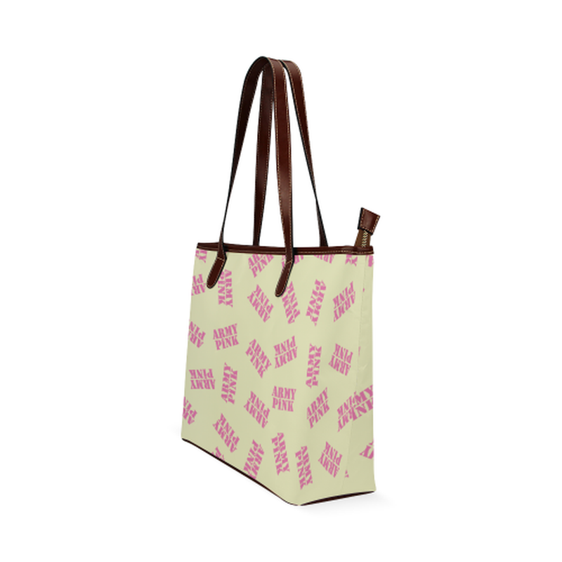 Pink stamps on yellow Shoulder Tote Bag (Model 1646) for  at ARMY PINK