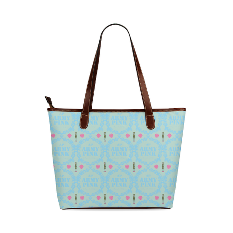 Blue wreaths on mint Shoulder Tote Bag (Model 1646) for  at ARMY PINK