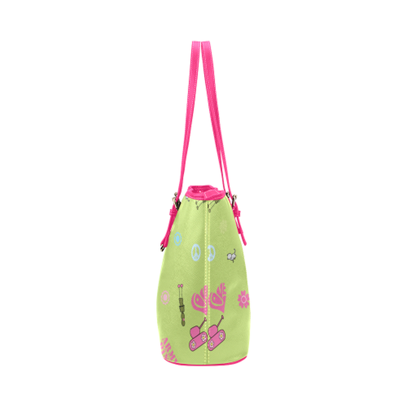 Green logo print leather Tote Bag for  at ARMY PINK