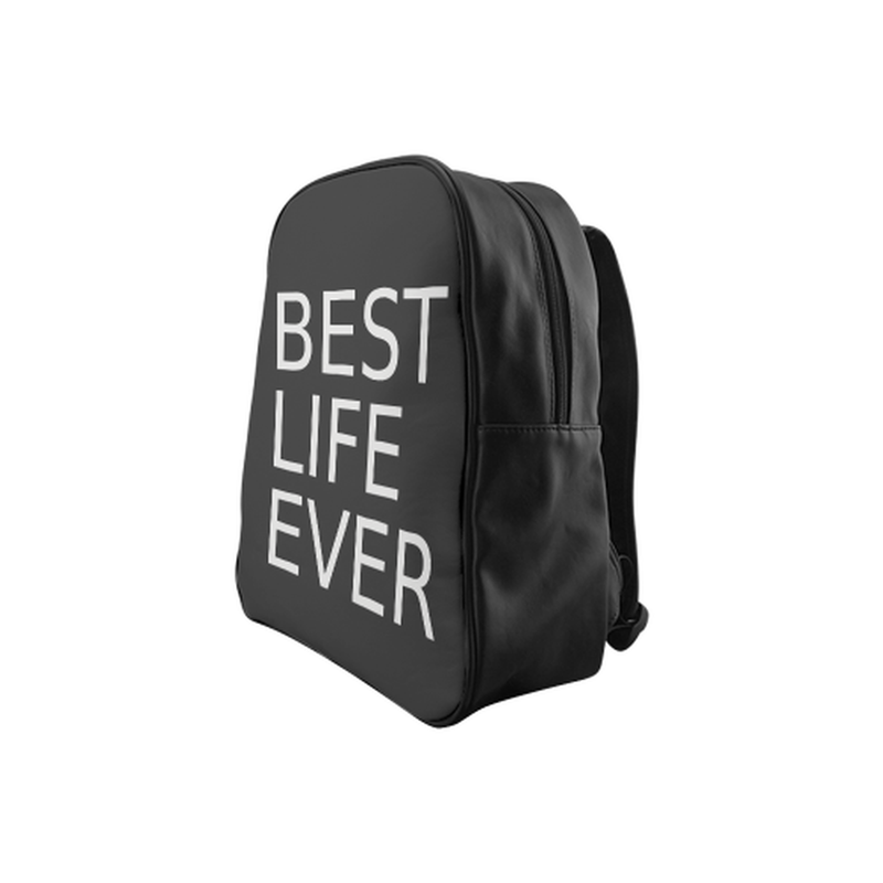 Gray best life ever on black School Backpack (Model 1601)(Medium) for  at ARMY PINK