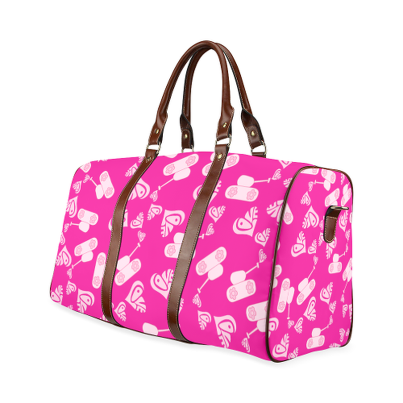 small travel bag light pink love tanks on pink Waterproof Travel Bag/Small (Model 1639) for  at ARMY PINK