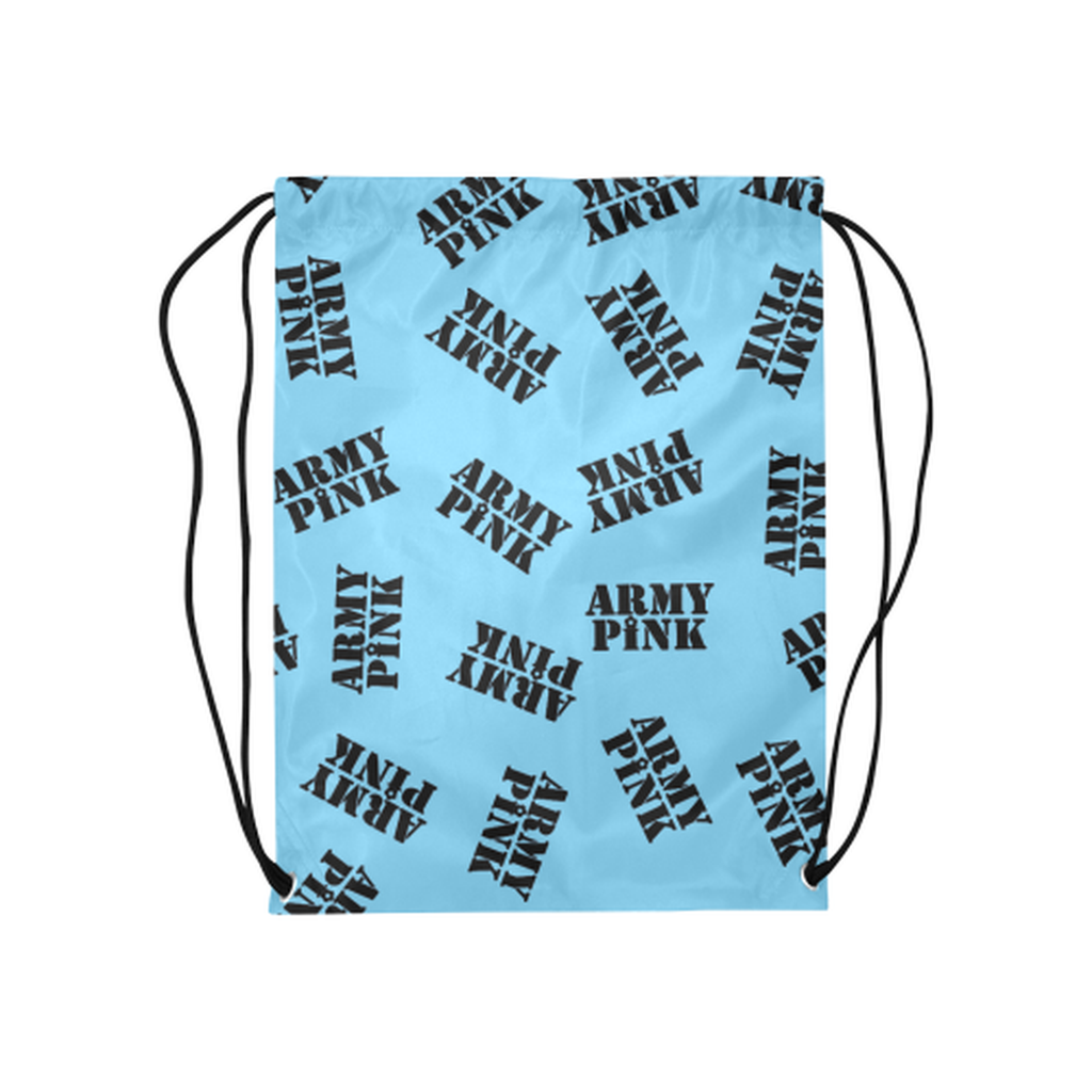 Blue black stamp Drawstring Bag for  at ARMY PINK