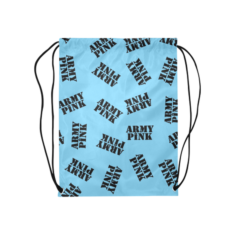 Blue black stamp Drawstring Bag ${product-type) ${shop-name)