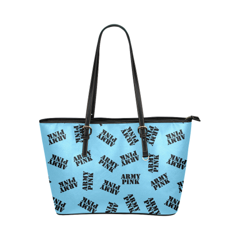 Blue black stamp leather Tote Bag for  at ARMY PINK