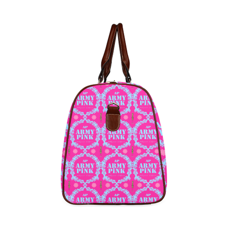 large travel bag blue wreath aop on pink Waterproof Travel Bag/Large (Model 1639) for  at ARMY PINK