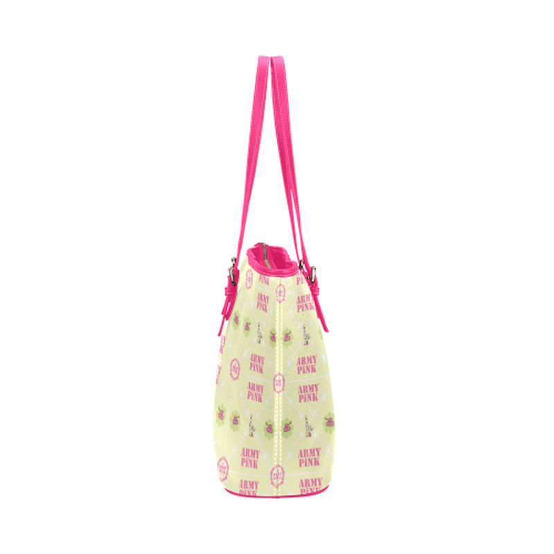 Diamond logo pattern on yellow Leather Tote Bag/Small (Model 1651) ${product-type) ${shop-name)