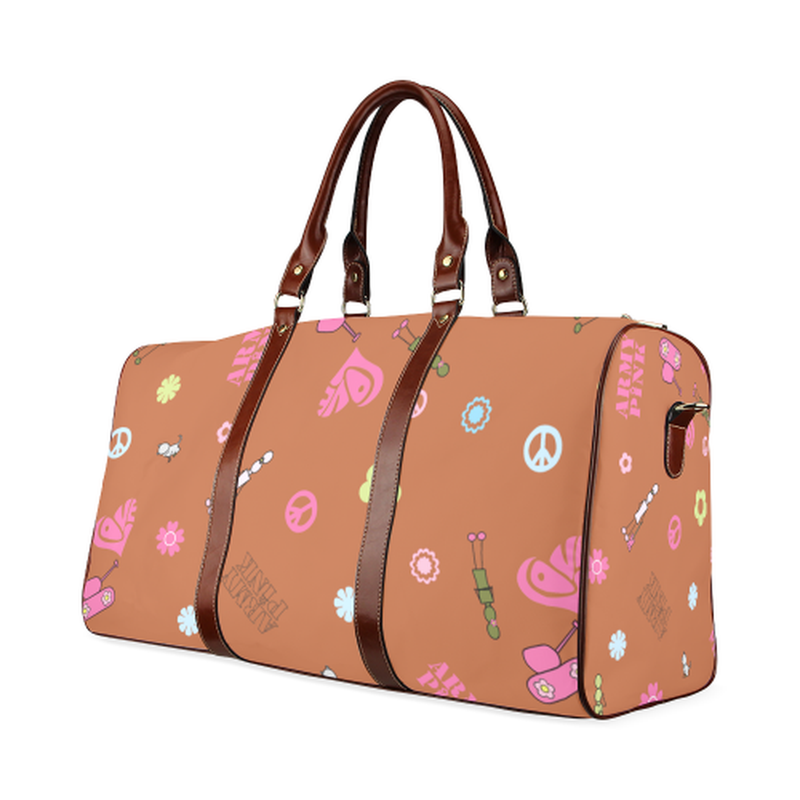 small travel bag logo aop on tan Waterproof Travel Bag/Small (Model 1639) for  at ARMY PINK