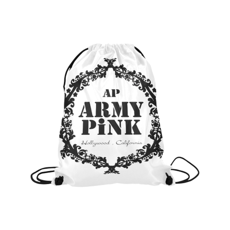 "Black wreath on white Medium Drawstring Bag Model 1604 (Twin Sides) 13.8""(W) * 18.1""(H) for  at ARMY PINK"