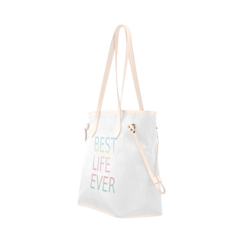 Best life ever on white Clover Canvas Tote Bag (Model 1661) for  at ARMY PINK