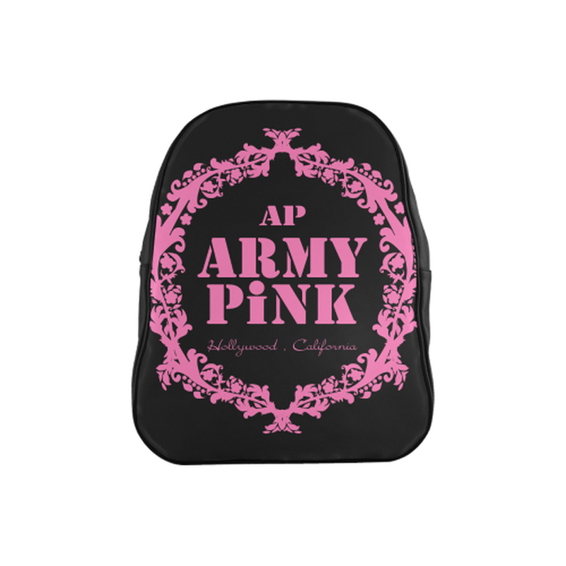 Pink wreath on black School Backpack (Model 1601)(Medium) for  at ARMY PINK