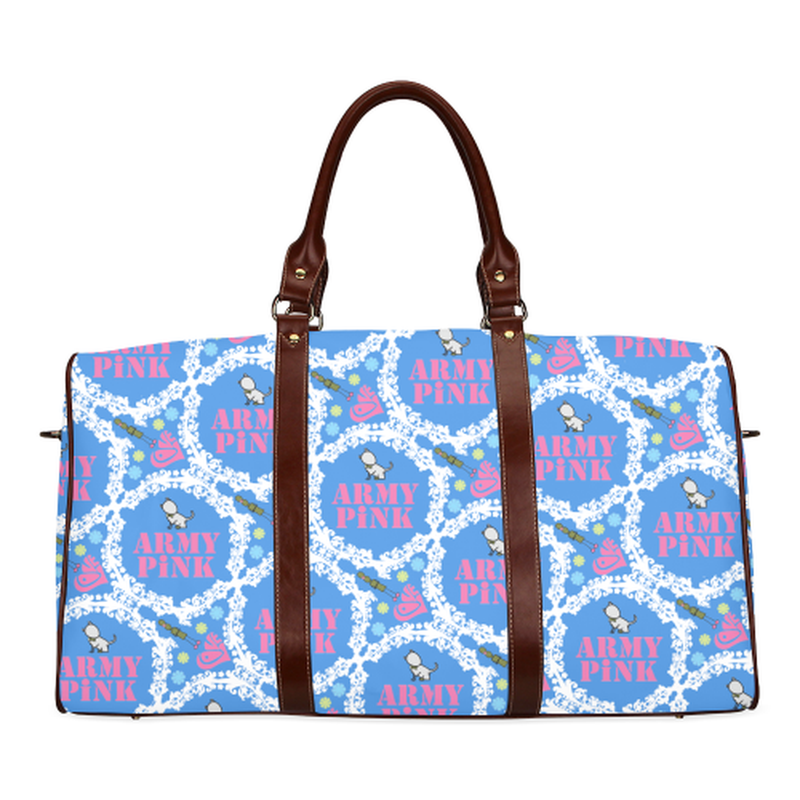 small travel bag white wreath aop on blue Waterproof Travel Bag/Small (Model 1639) for  at ARMY PINK