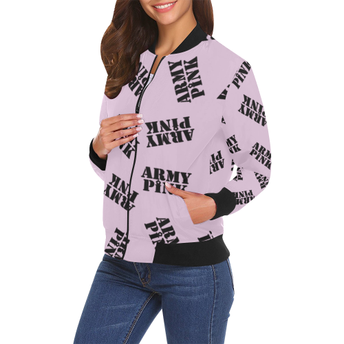 Black stamp lilac Bomber Jacket for 55.00 at ARMY PINK