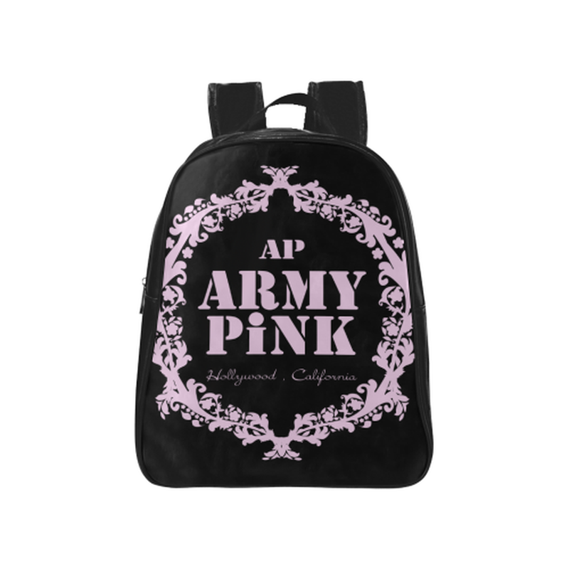 Pastel pink on black School Backpack (Model 1601)(Medium) ${product-type) ${shop-name)