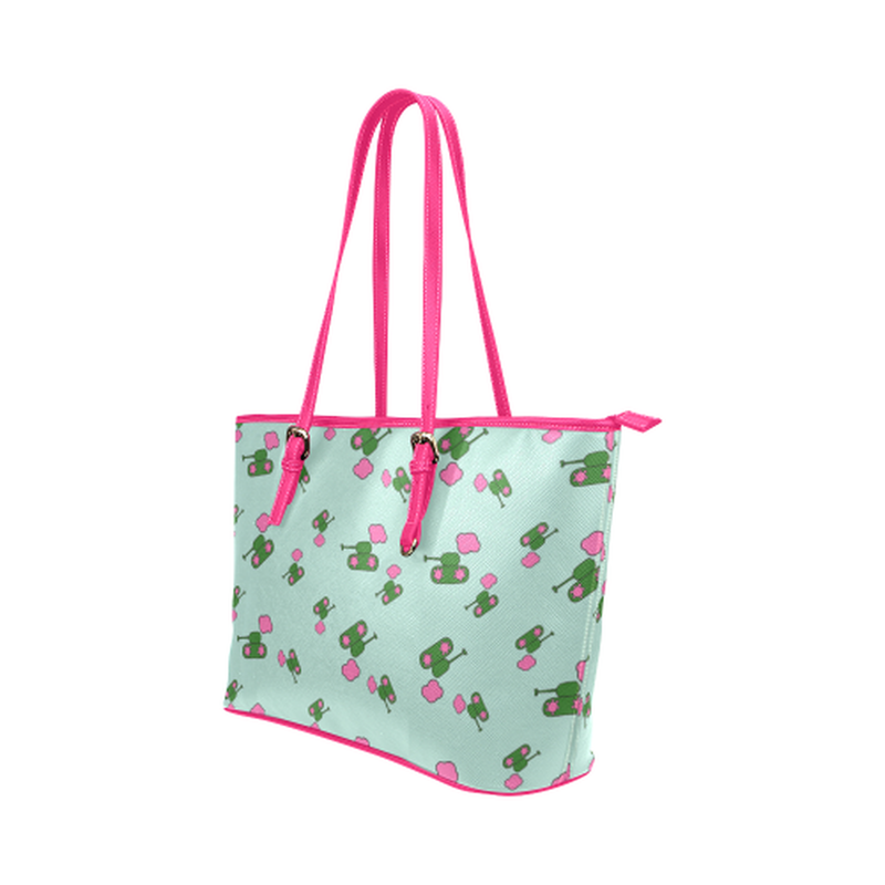 Tanks and clouds on mint Leather Tote Bag/Small (Model 1651) ${product-type) ${shop-name)