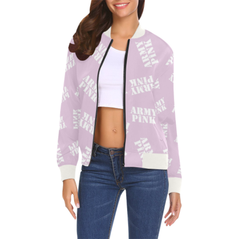 White stamp lilac Bomber Jacket for 55.00 at ARMY PINK