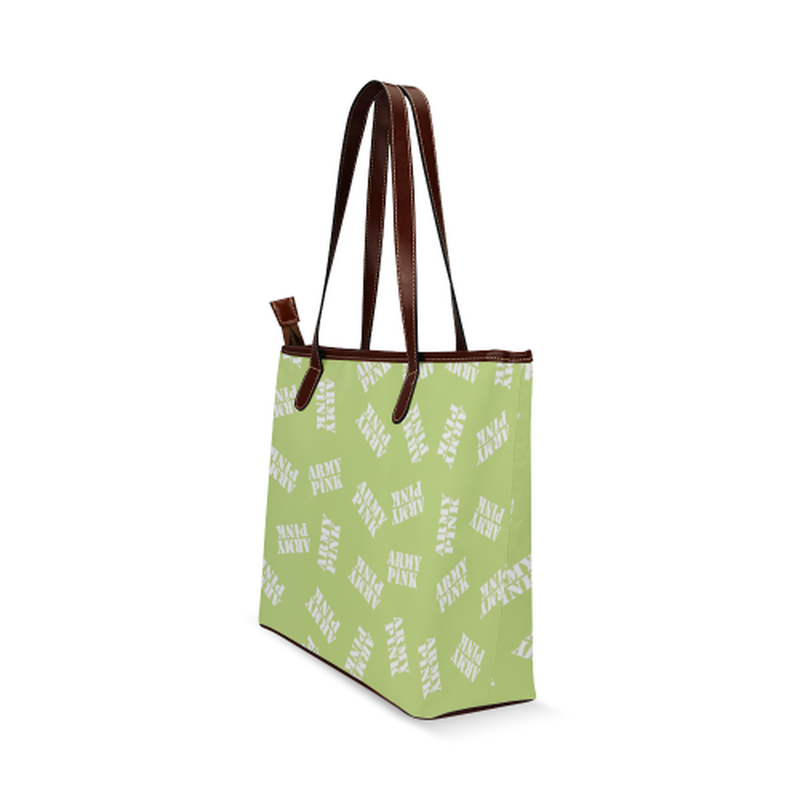 White stamp on green Shoulder Tote Bag (Model 1646) for  at ARMY PINK