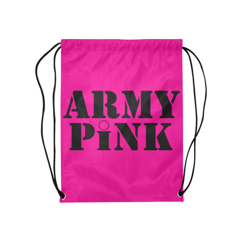 "drawstring name pink Medium Drawstring Bag Model 1604 (Twin Sides) 13.8""(W) * 18.1""(H) for  at ARMY PINK"