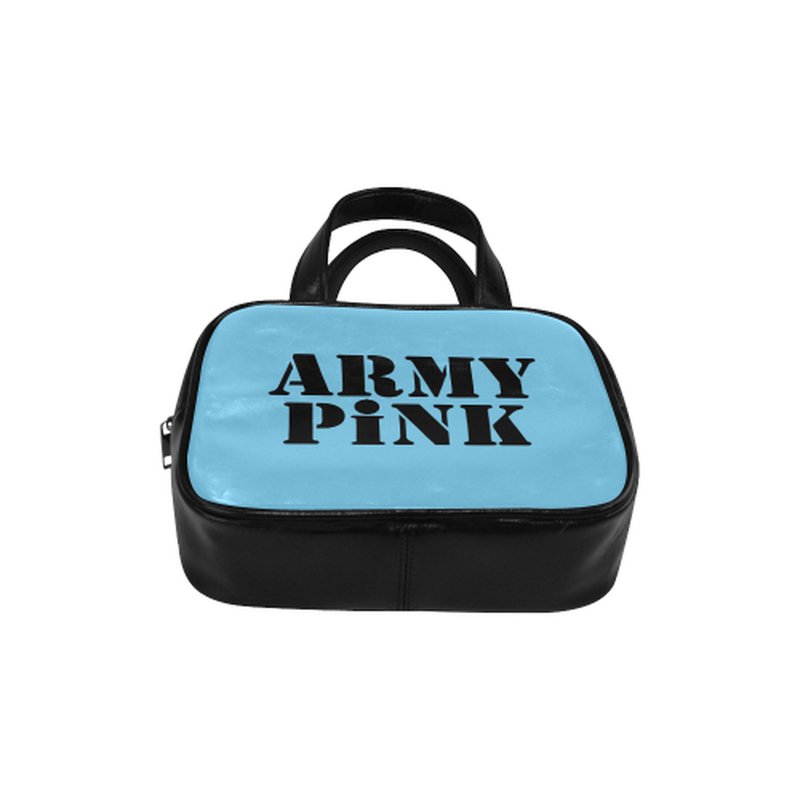 Army Pink on Blue Leather Top Handle Handbag for  at ARMY PINK