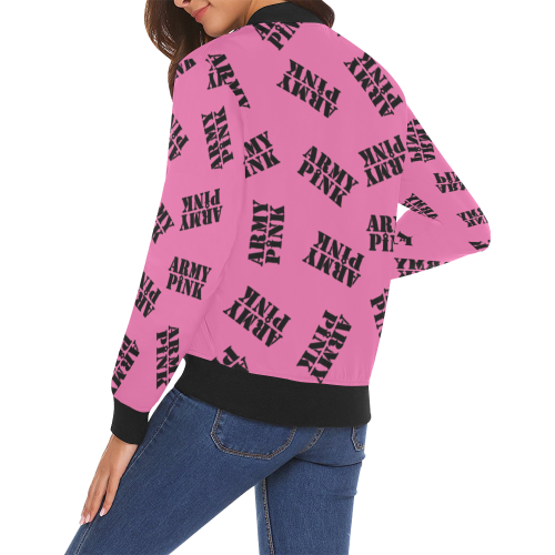 Black stamp pink Bomber Jacket for 55.00 at ARMY PINK
