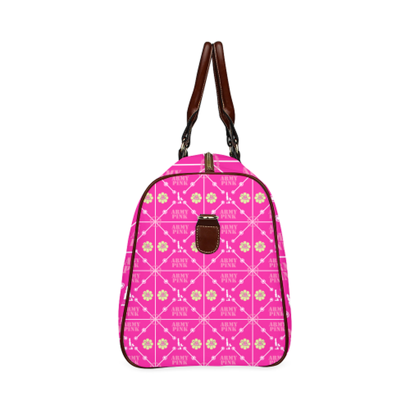 large travel bag aop3 on pink Waterproof Travel Bag/Large (Model 1639) for  at ARMY PINK