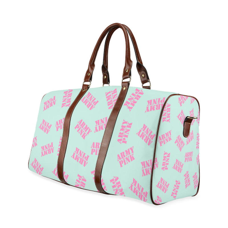 small travel pink stamp mint Waterproof Travel Bag/Small (Model 1639) for  at ARMY PINK