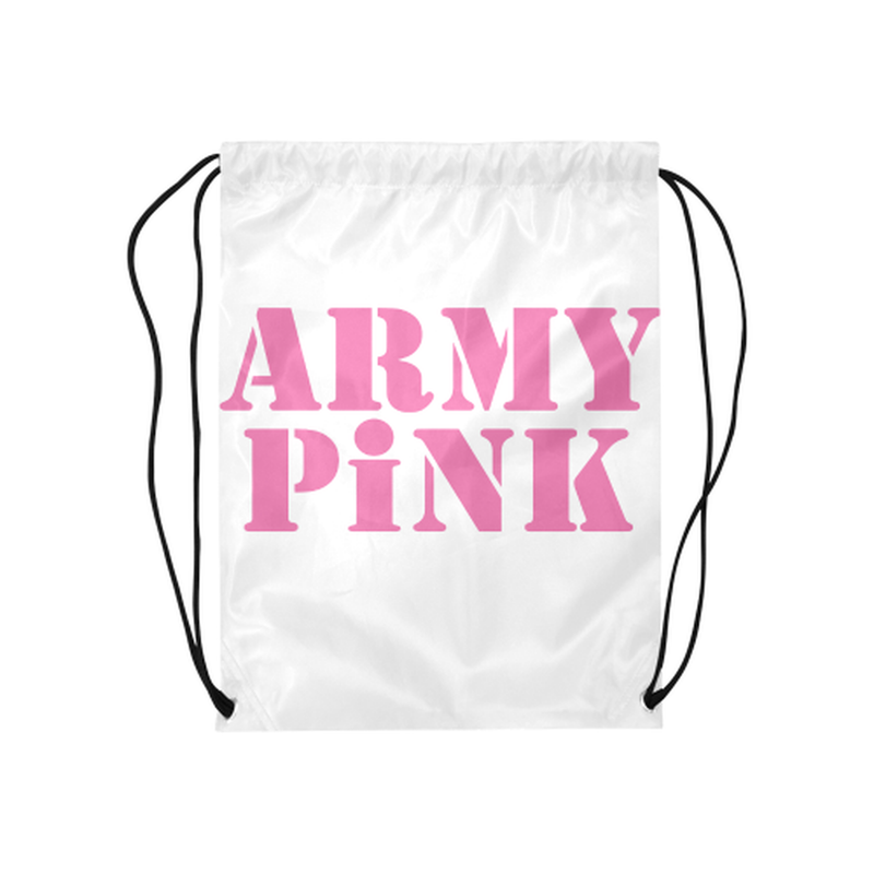 "Pink Army Pink on white Medium Drawstring Bag Model 1604 (Twin Sides) 13.8""(W) * 18.1""(H) for  at ARMY PINK"