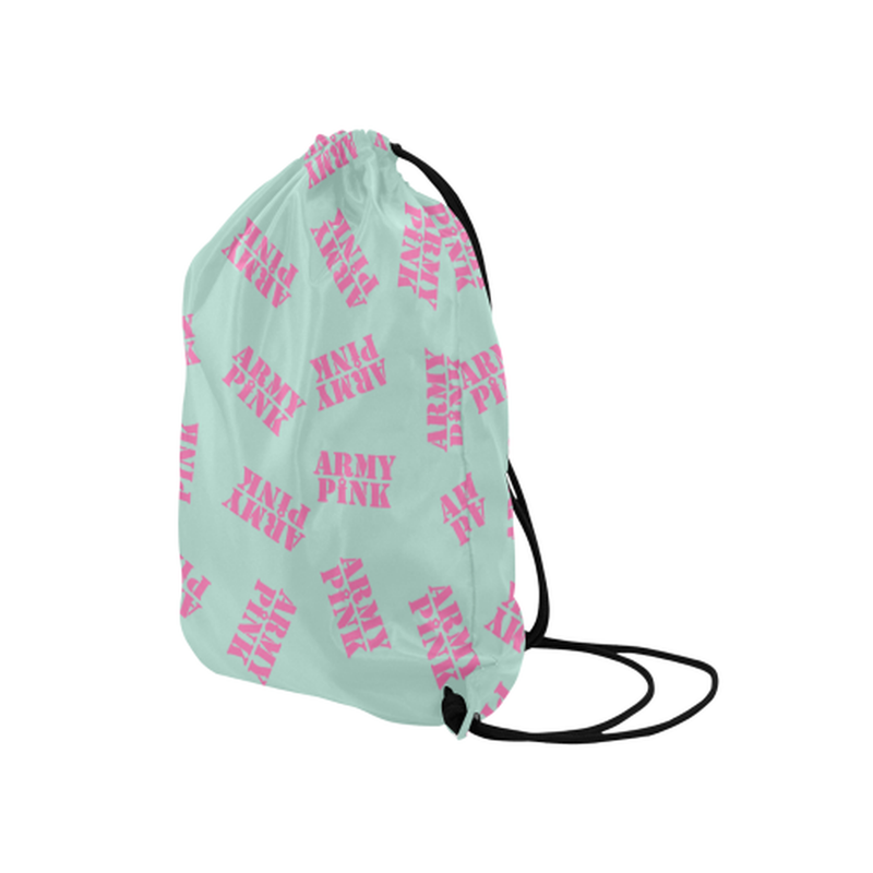 "Pink stamps on mint Medium Drawstring Bag Model 1604 (Twin Sides) 13.8""(W) * 18.1""(H) for  at ARMY PINK"