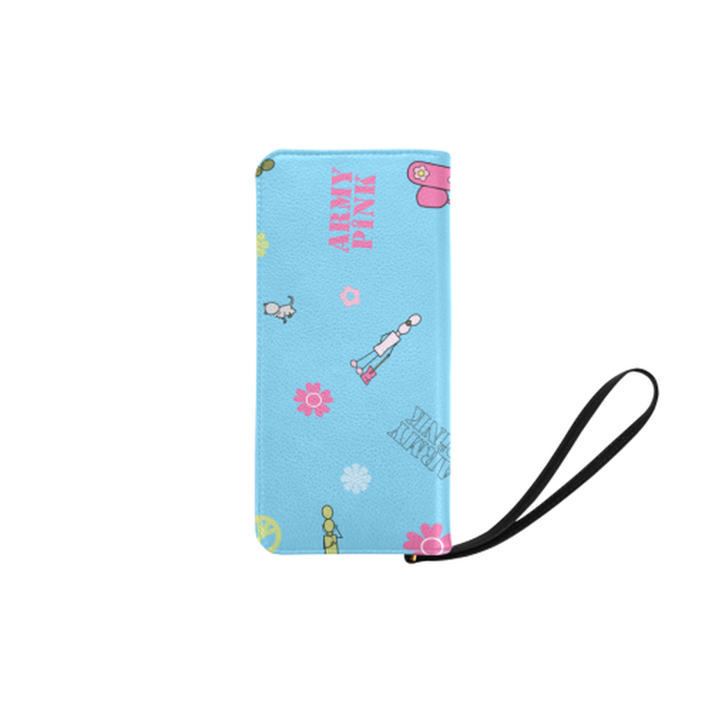 Logo print blue Clutch Purse for  at ARMY PINK