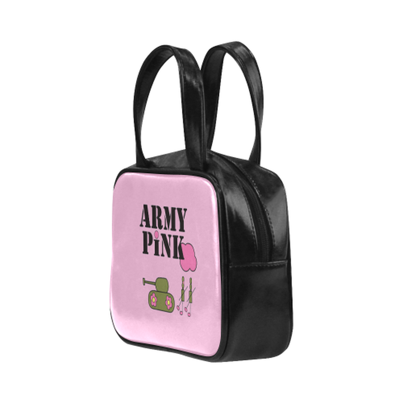 Logo on pink Leather Top Handle Mini Handbag for  at ARMY PINK