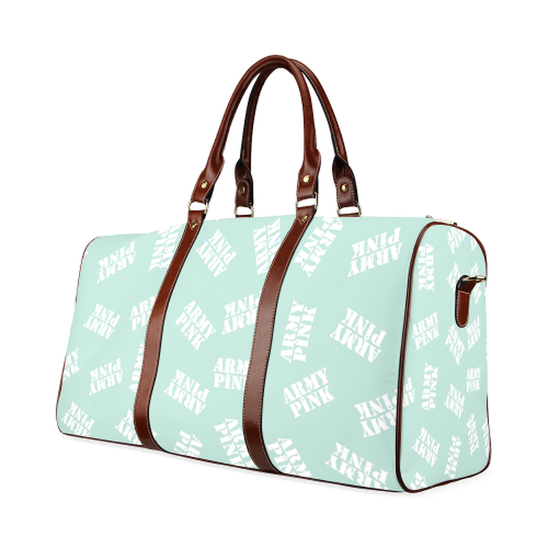 small travel white stamp pasatel green Waterproof Travel Bag/Small (Model 1639) for  at ARMY PINK