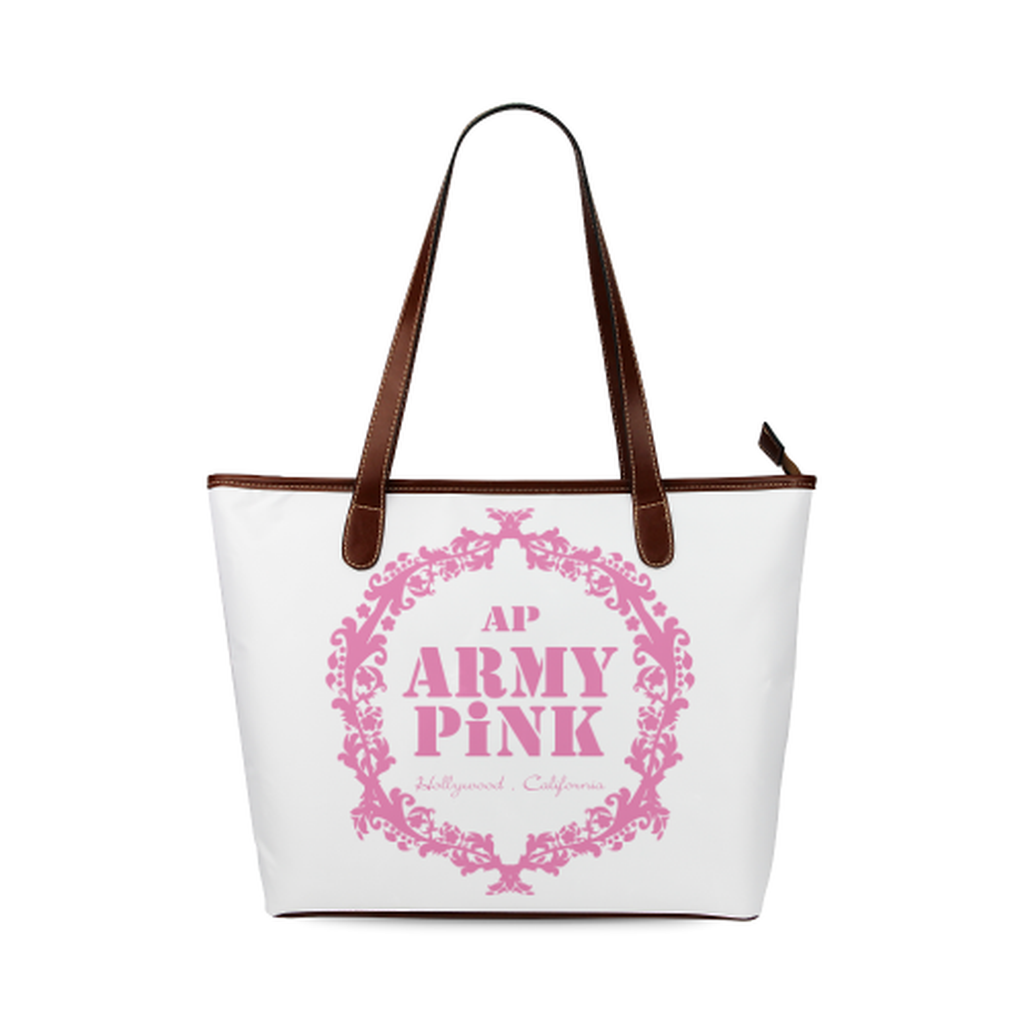 White pink wreath Tote Bag for  at ARMY PINK