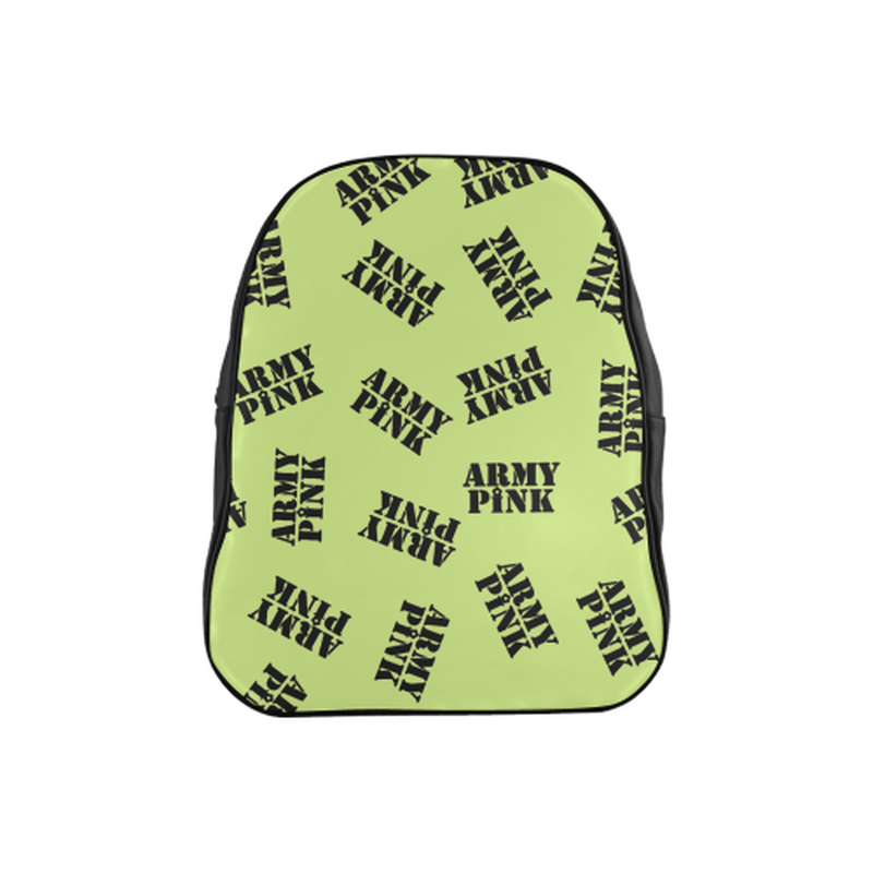 Black stamps on green School Backpack (Model 1601)(Medium) for  at ARMY PINK