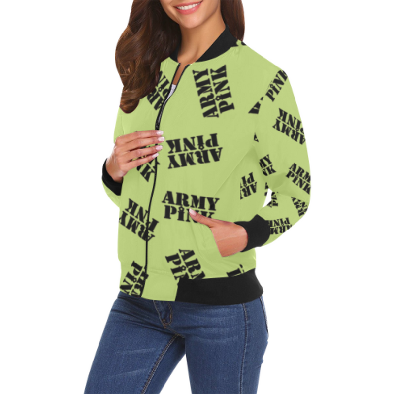 Black stamp green Bomber Jacket for 55.00 at ARMY PINK