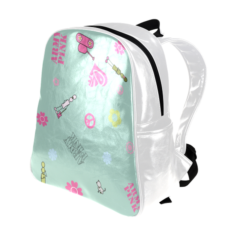 Logo print on mint Multi-Pockets Backpack for  at ARMY PINK