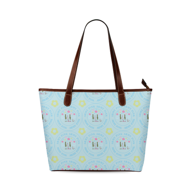 Logo pattern on blue Shoulder Tote Bag (Model 1646) ${product-type) ${shop-name)