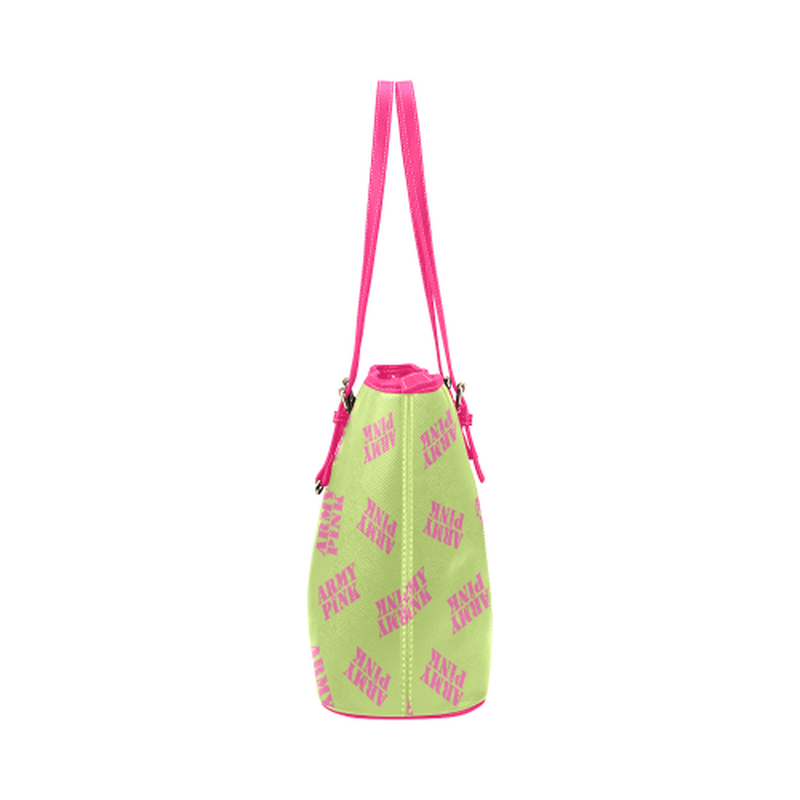 Green stamp leather Tote Bag for  at ARMY PINK