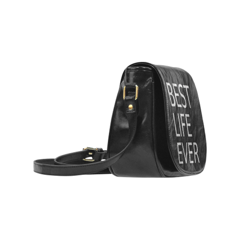 Best life ever gray on black Classic Saddle Bag/Small (Model 1648) ${product-type) ${shop-name)