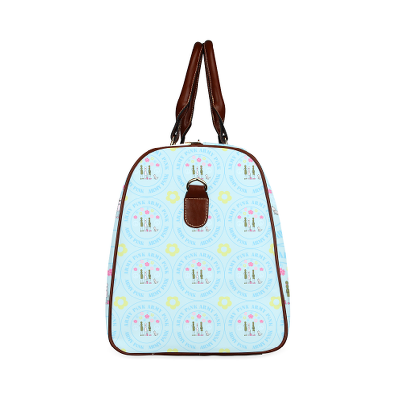 large travel marchers round aop on teal Waterproof Travel Bag/Large (Model 1639) for  at ARMY PINK