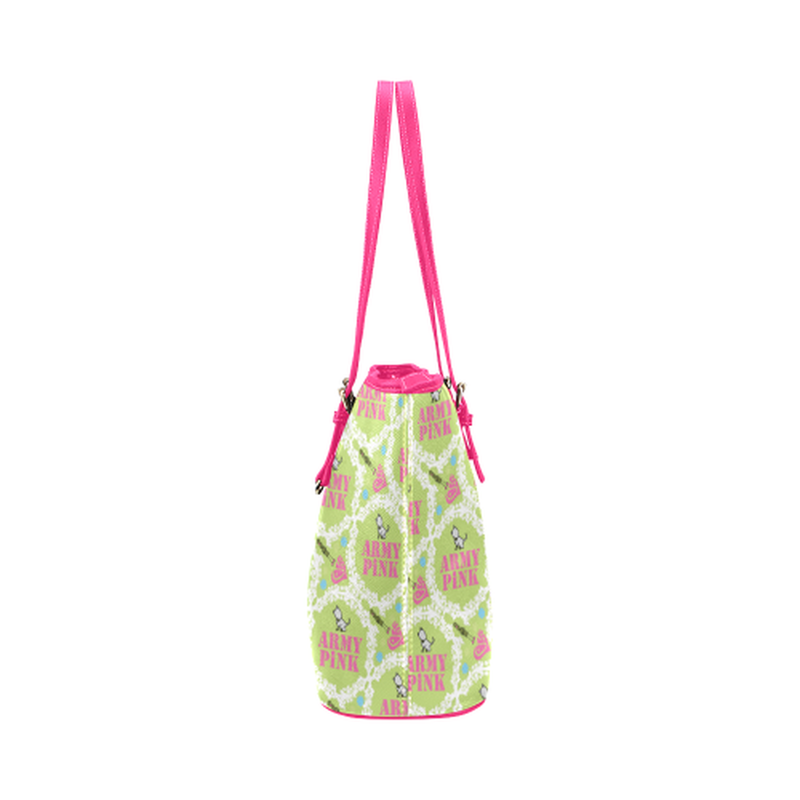 Green white wreath leather Tote Bag for  at ARMY PINK