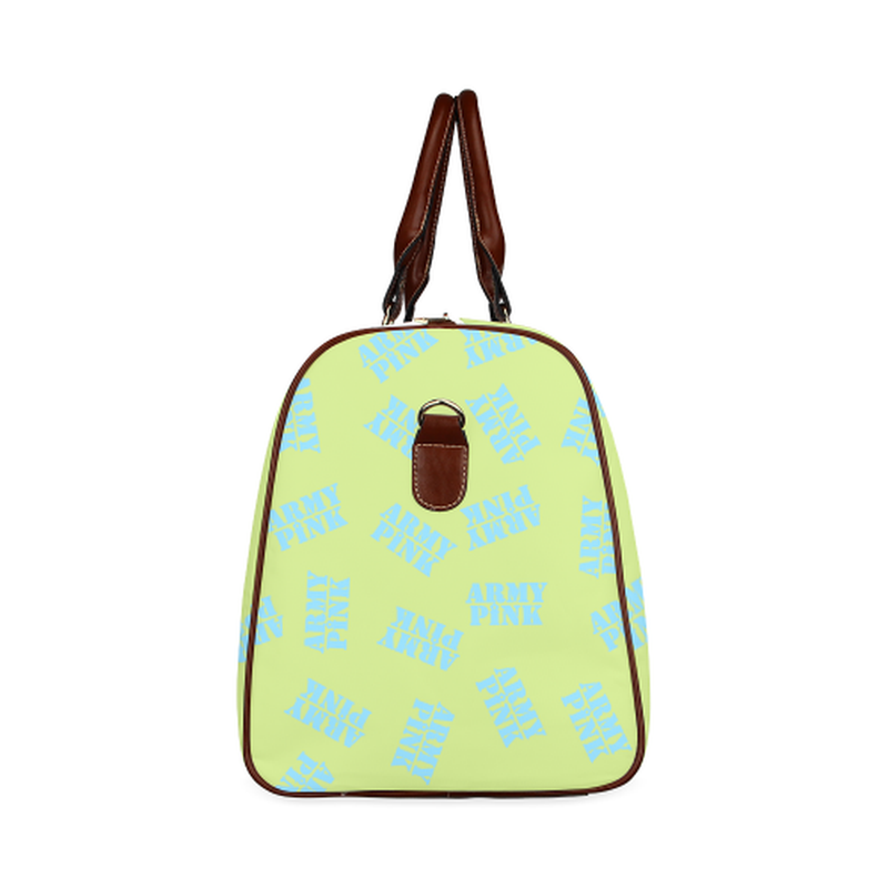small travel bag blue stamps on green Waterproof Travel Bag/Small (Model 1639) for  at ARMY PINK