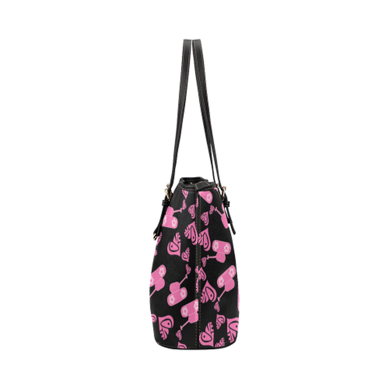 Pink love tanks on black Leather Tote Bag/Small (Model 1651) for  at ARMY PINK