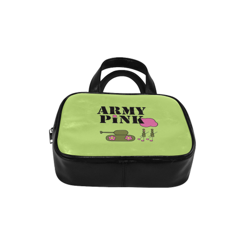 Logo on green Leather Top Handle Mini Handbag for  at ARMY PINK