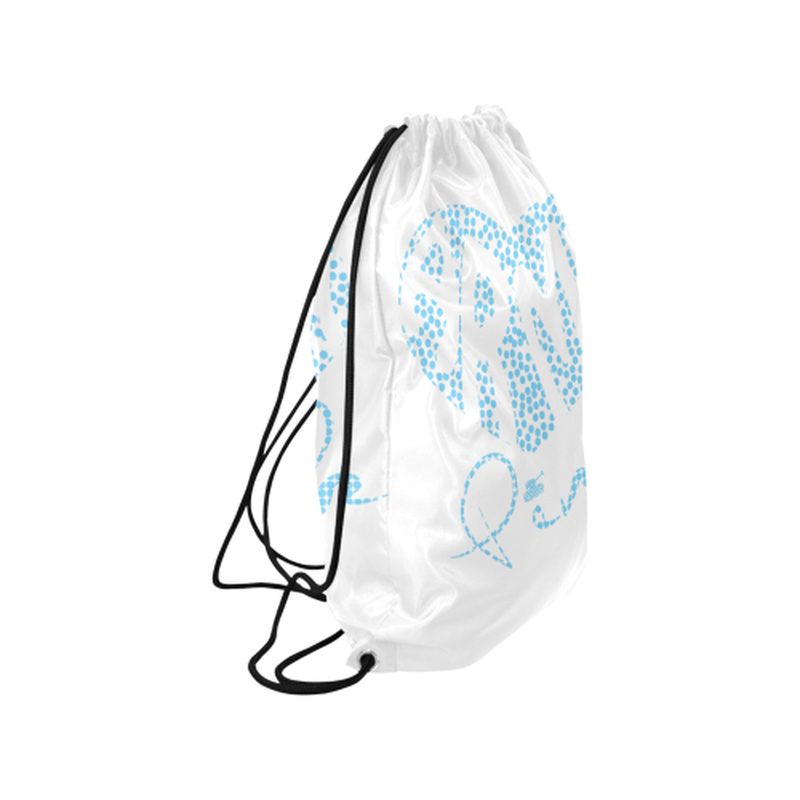 "Blue dot heart Medium Drawstring Bag Model 1604 (Twin Sides) 13.8""(W) * 18.1""(H) for  at ARMY PINK"