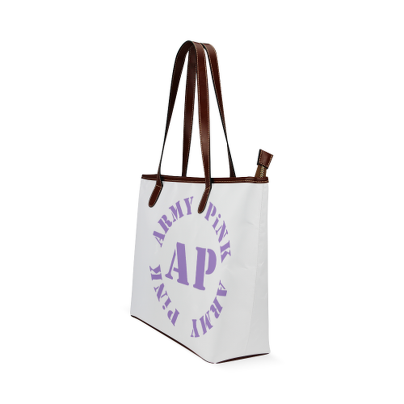 Round AP purple on white Shoulder Tote Bag (Model 1646) for  at ARMY PINK