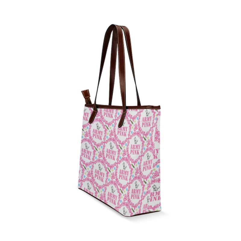 shoulder tote pink wreath aop on white Shoulder Tote Bag (Model 1646) for  at ARMY PINK
