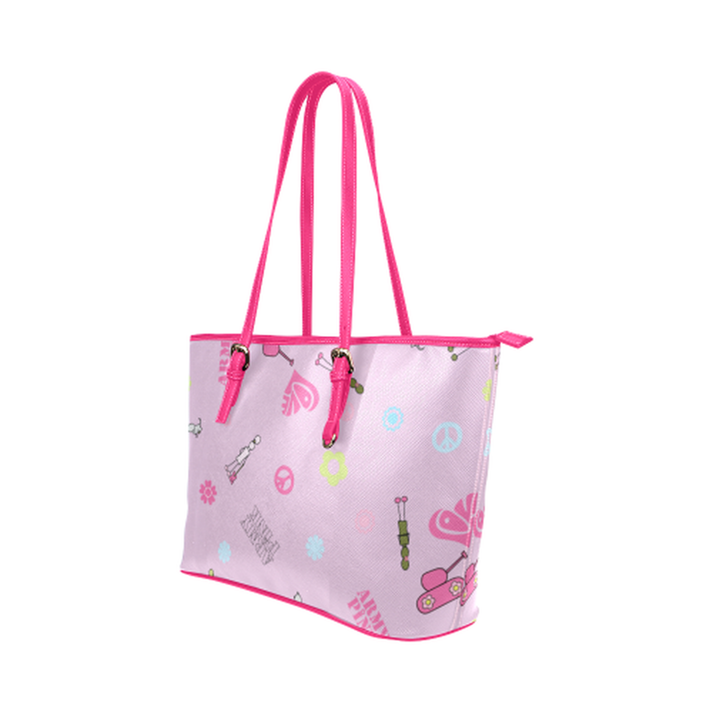 Pink logo print leather Tote Bag ${product-type) ${shop-name)