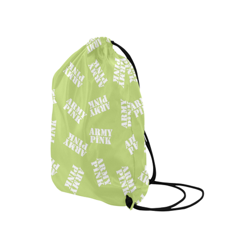 "White stamps on green Medium Drawstring Bag Model 1604 (Twin Sides) 13.8""(W) * 18.1""(H) for  at ARMY PINK"