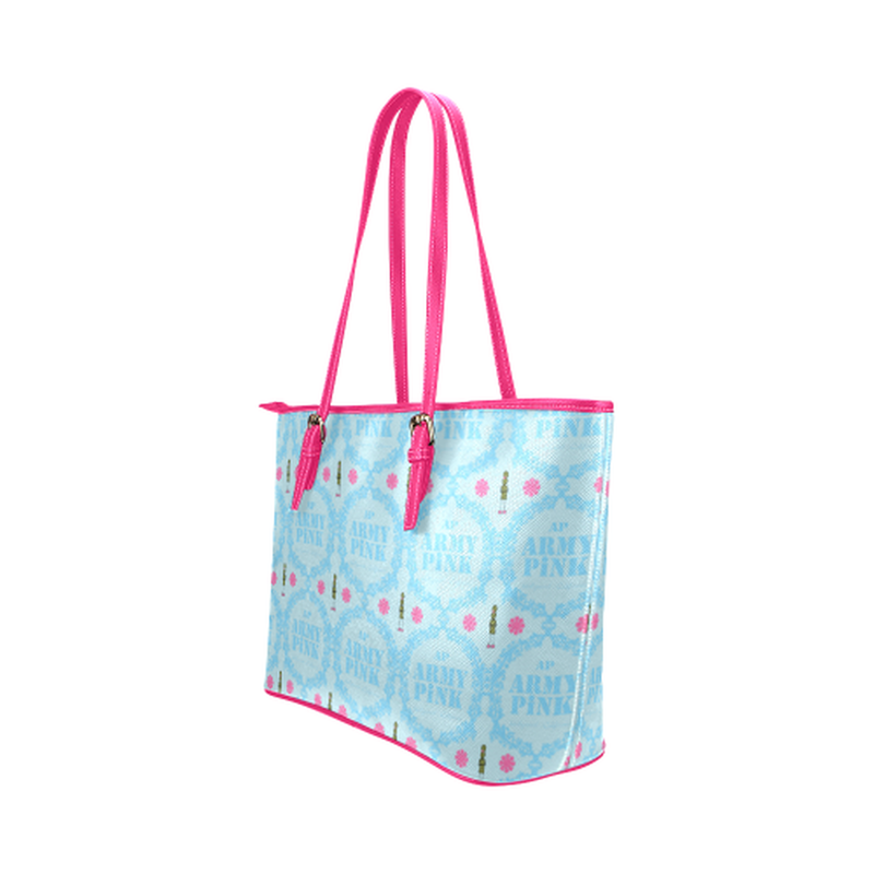 Blue wreath on blue Leather Tote Bag/Small (Model 1651) for  at ARMY PINK